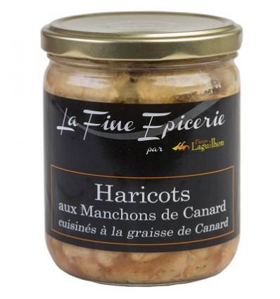Haricots aux manchons canard cuisinés à la graisse de canard 385g - Verrine 44,6cl