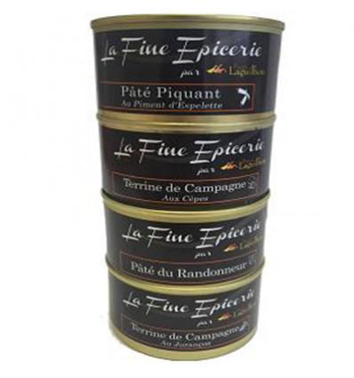 Lot de 4 boites OF 125g: Terrine de campagne aux CEPES _JURANCON_RANDONNEUR_ PIQUANT AU PIMENT D ESPELETTE