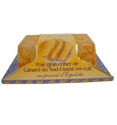 Foie gras de canard entier IGP Sud-ouest au piment d'Espelette - Mi-cuit - Barquette 200 g