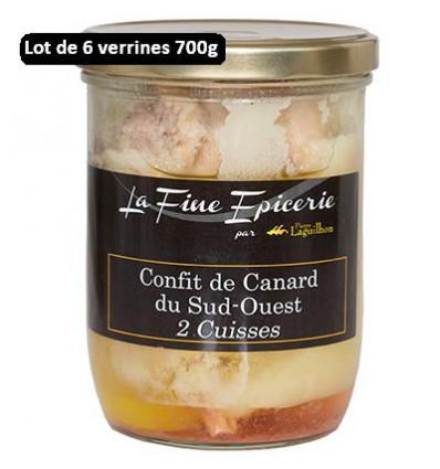 Colis de 6 verrines Confit de canard Label Rouge Sud-ouest - 2 cuisses - 700 g