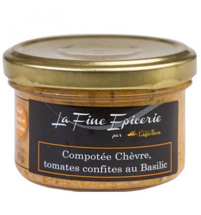 COMPOTEE CHEVRE, TOMATES CONFITES AU BASILIC - Verrine 90 g